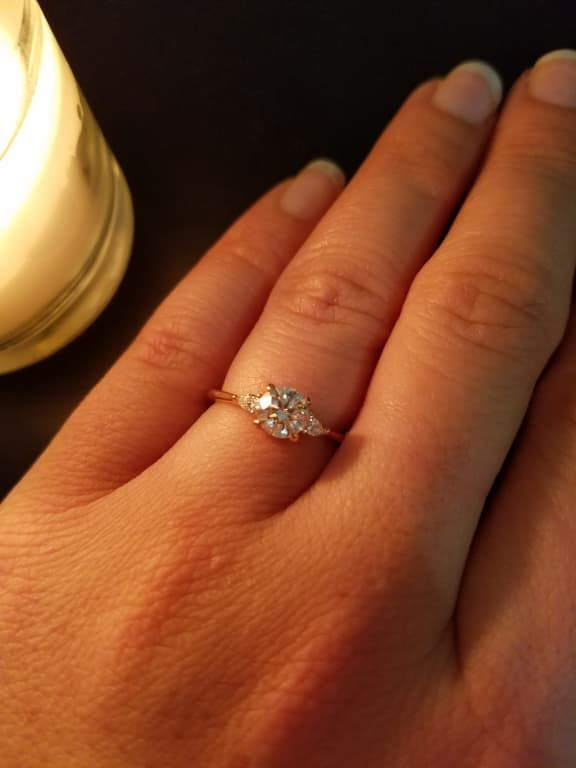 18k White Gold Aria Diamond Ring 1 10 Ct Tw Pear Diamond