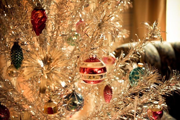 Tinsel Tree With A Color Wheel.