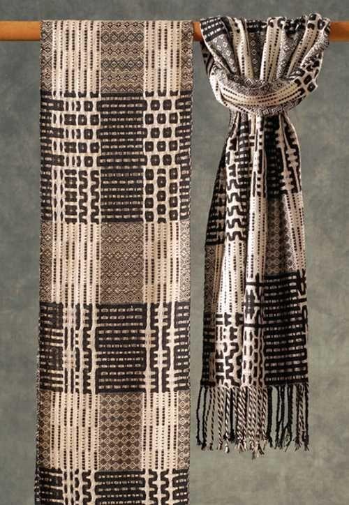 "Muffy Young   Blocks in Black & White   silk   woven on 24-shaft AVL dobby loom   9"" x 76""   Waltham, Massachusetts, U.S.A."