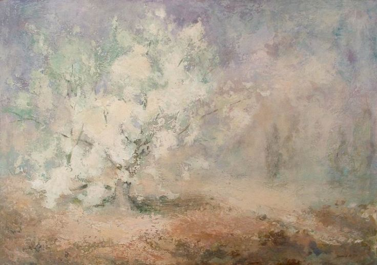 Cherry in blossom. Egg tempera, canvas. One of my personal favorites :)