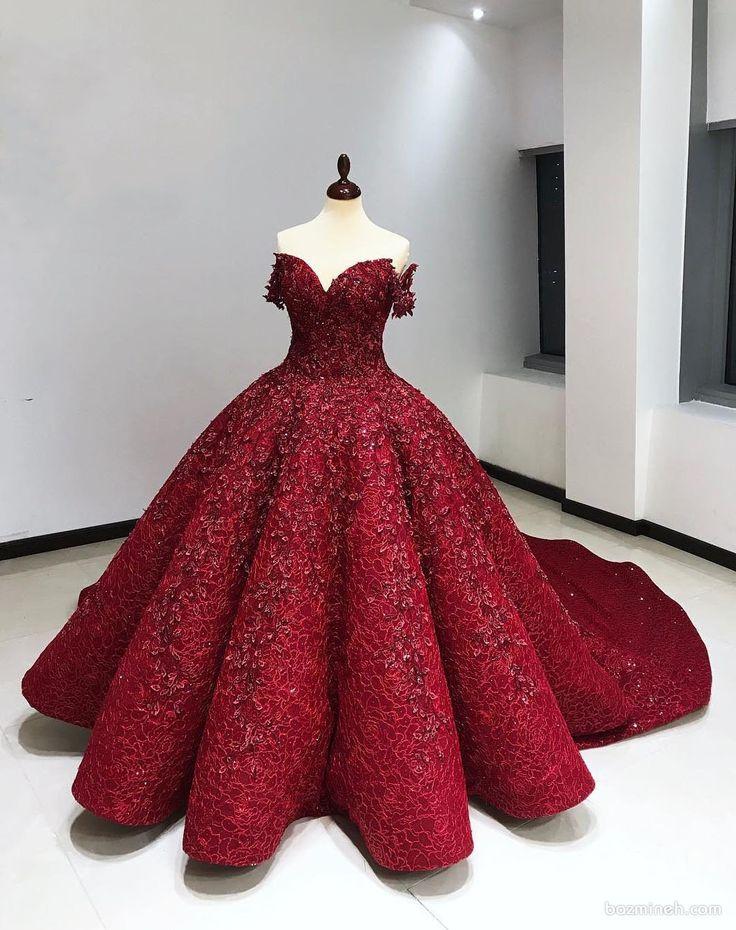 لباس نامزدی قرمز رنگ کار شده با یقه دلبری آستین دار و دامن ...