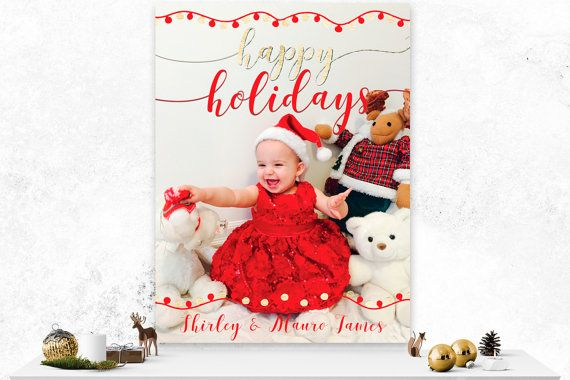 Christmas Card  Custom Photo Card  Red and by IspiratoPrintables