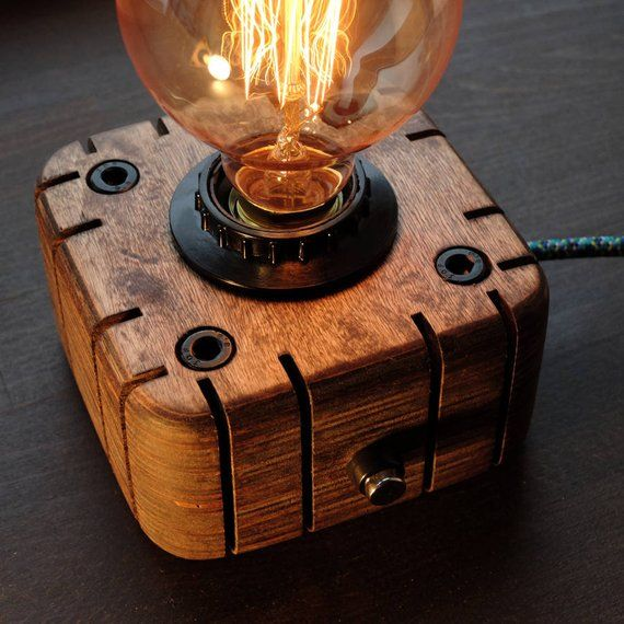 Edison Lamp Industrial Lamp Steampunk Lamp Wooden Edison Lamp Night