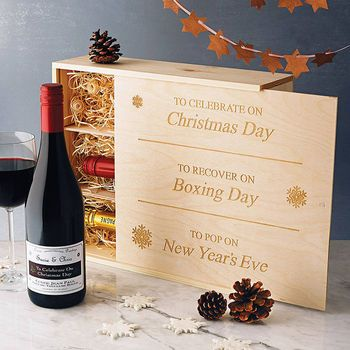 Engraved Wooden wine boxes make a  wonderful holiday gift