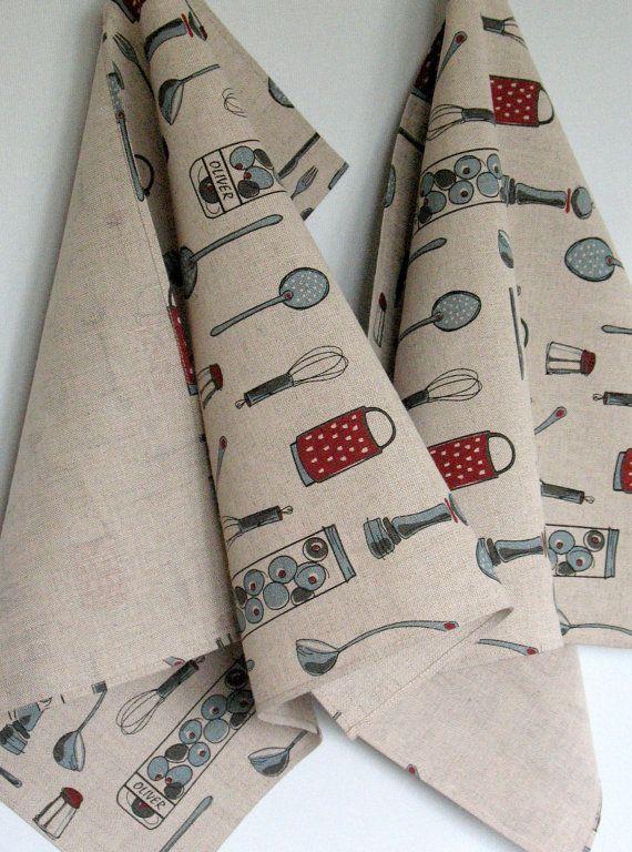 Linen Cotton Dish Towels Tea Towels Spices Kitchen by Coloredworld, $17.90