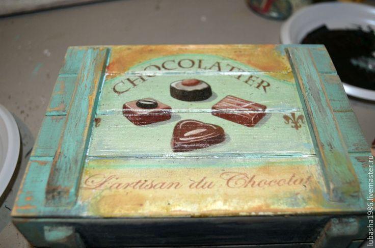 Декорирование деревянного ящика «Chocolatier». Лессировка. Часть 2 - Ярмарка Мастеров - ручная работа, handmade
