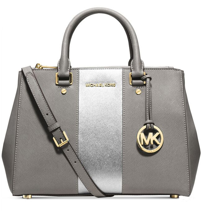 Michael Kors Large Color-Block Leather Satchel Silver And Gray