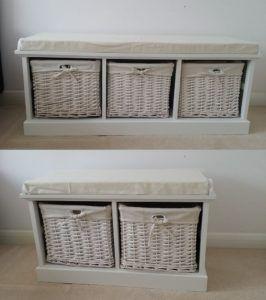 Shabby Chic 3 Drawer Wicker Storage Unit Bench