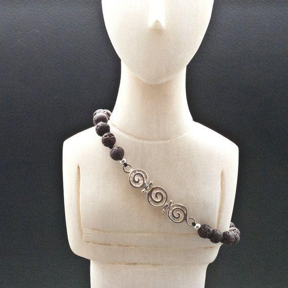 Greek Spiral Bracelet Lava and Silver Unisex by GreekMythos