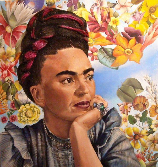 AUTORA:Maria de Oro COLECCION-AÑO:Homenaje a Frida Kahlo-2009 TITULO:Frida Kahlo TECNICA:Collage y oleo sobre madera MEDIDAS:33.5X33.5cms