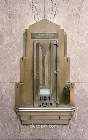 Bell Mailbox, Northwestern Bell Telephone Bldg., Minneapolis, Minnesota - Art Deco Metal Work http://www.decopix.com/LR_Metalwork_Gallery-FInal/content/NW_Bell_Mailbox_NX_best_large.html