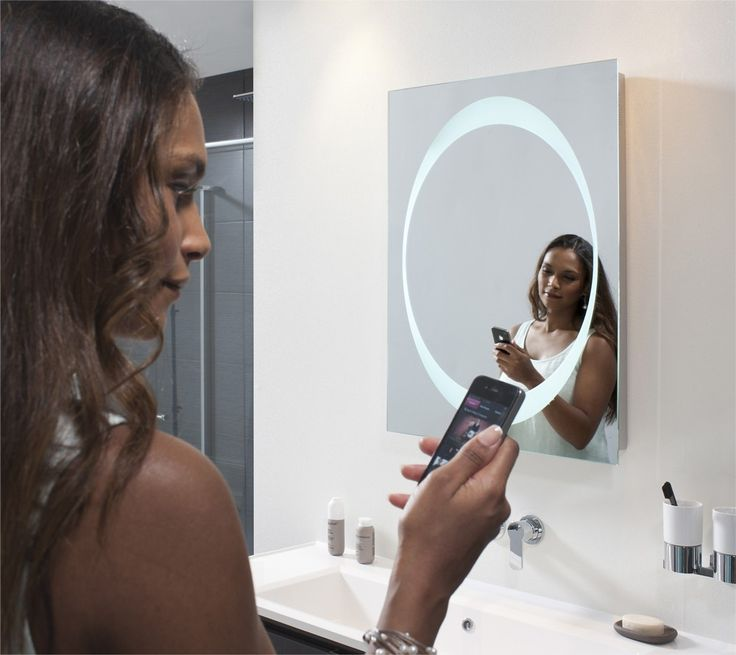 The Bauhaus Revive mirror, with stereo speakers! Play music from your smartphone #BathroomOfTheFuture