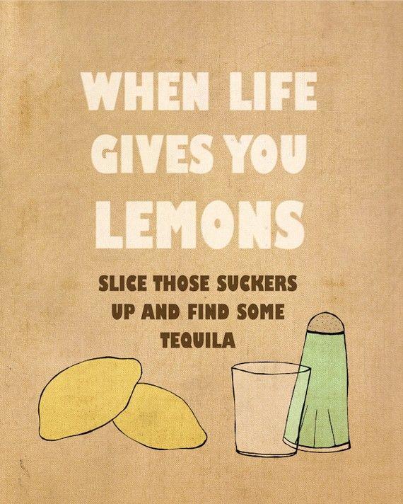 Lemons 8x10 - Typographic Print, Inspirational, Encouraging, Funny Bar Signs, Kitchen Decor, Bar and Pub Art Poster. $20.00, via Etsy.