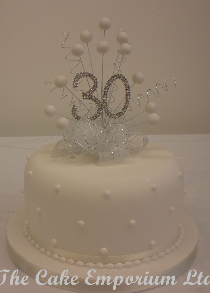CAKE TOPPER PEARL BURST DIAMANTE BIRTHDAY & ANNIVERSARY NUMBERS WHITE