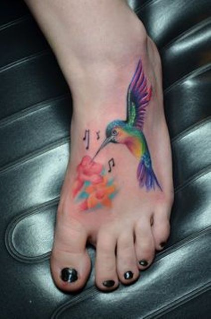 images of hummingbirds and flowers | Flower and Hummingbird Tattoo for Foot