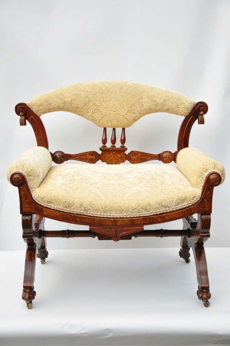 Hand carved amp upholstered chair late 1800 s grand rapids mi area - Aesthetic Eastlake Victorian Carved Walnut Vanity Bench C 1890 S