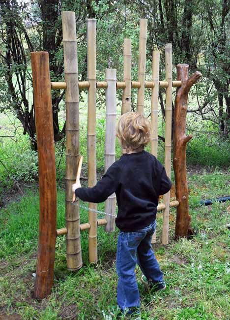 Bamboo chime tower - fun musical addition to a kids' play area in the garden..maybe I could get some Bamboo from Perry!!!