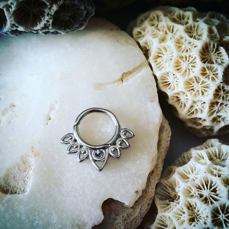 Petal Silver Septum Ring 16 G 1.2mm | Tribal Septum Jewelry Cartilage Hoop Rook Earring Helix Earring Tragus Ring 16 Gauge Septum Clicker by ThrowBackAnnie on Etsy https://www.etsy.com/listing/247431683/petal-silver-septum-ring-16-g-12mm