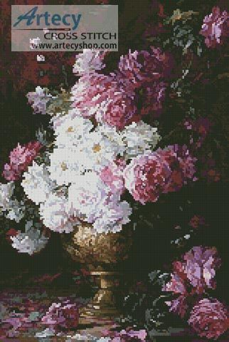 Still Life of Roses in a Vase Counted Cross Stitch Pattern