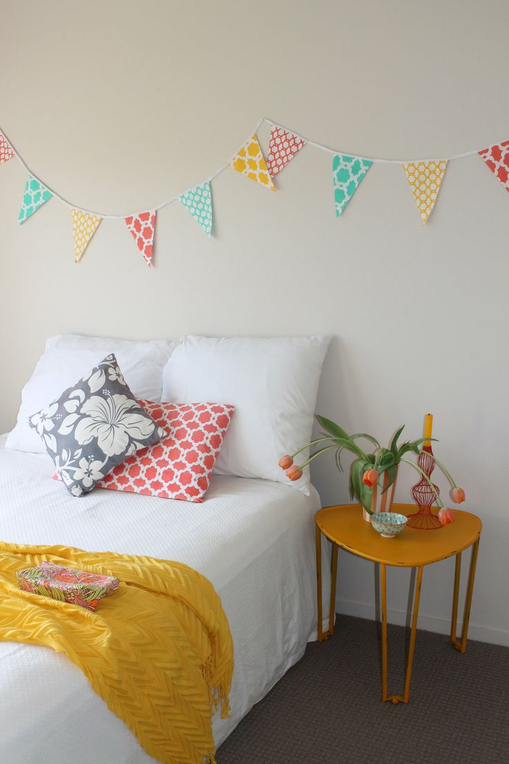 Yellow and Orange wow in this guest bedroom looks so inviting! Check out our bunting at $24.95 its an easy and cost effective way to recreate that holiday feeling now. All items available from recline.co.nz