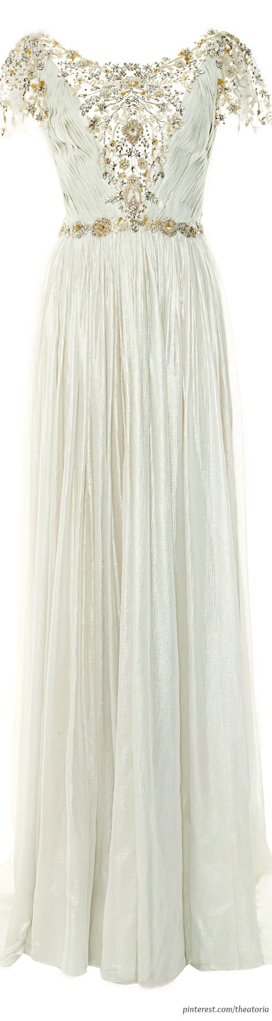 [Elethea] Marchesa ● Pre-Fall 2014, Pleated Silver Foil Chiffon Gown