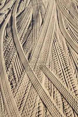 tire tracks in the snow...almost looks like a cable knit sweater on crack...cool…