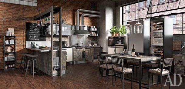 Кухня Industrial, Giulia Novars. Г-образная форма иединство материалов всей мебели обозначают зону столовой и кухни влофтовом пространстве.