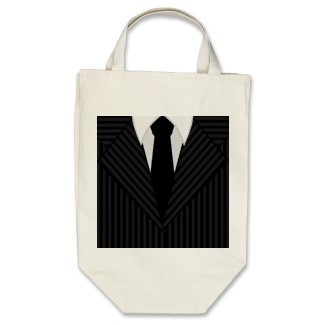 Pinstripe Suit and Tie Organic Grocery Tote Bag by sunnymars  Browse more Bags