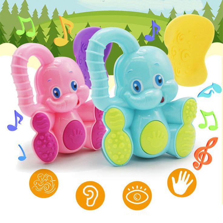 Colorido lindo Del Elefante Del Bebé Juguetes de Plástico De La Mano Del Bebé Sonajero Móviles Cascabeleo Sacudiendo Campana Bebé Juguetes Musicales Juguetes Educativos