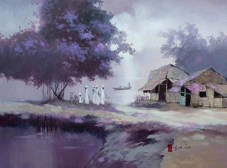 Đặng Van Can (was born in 1957 in An Duc commune,,Vietnamese Landscape Figurative painter artist ) ~ waiting for ferry