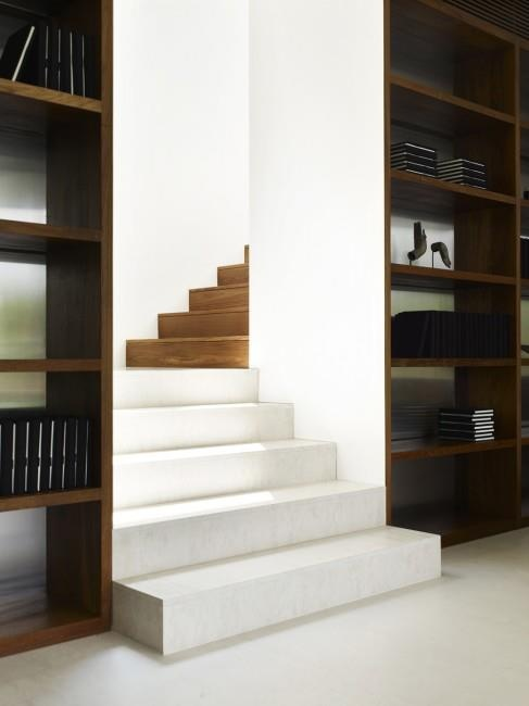 """Cool Cafe Latte stairs!     This is an interesting concept for the Stairs of the JKC1 House done by ONG & ONG. Described as """"café latte"""", the lower part of the stairs is wrapped in white marble and the upper side in appealing brown wood."""