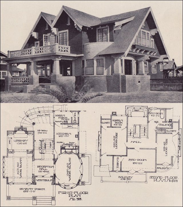 "Awesome 1912 Craftsman House Plan Design No. 514 1912 LOS ANGELES INVESTMENT CO. — PRACTICAL BUNGALOWS Another generous plan is No. 514 which has a number of wonderful features including a grand oval dining room with a walled terrace, a living room with library and fireplace, and three large bedrooms. Fom the rear of the hallway, one could access a cement terrace with a pergola ... perfect for having one's morning coffee. As noted in the catalog, this house is ""more notable for the size..."