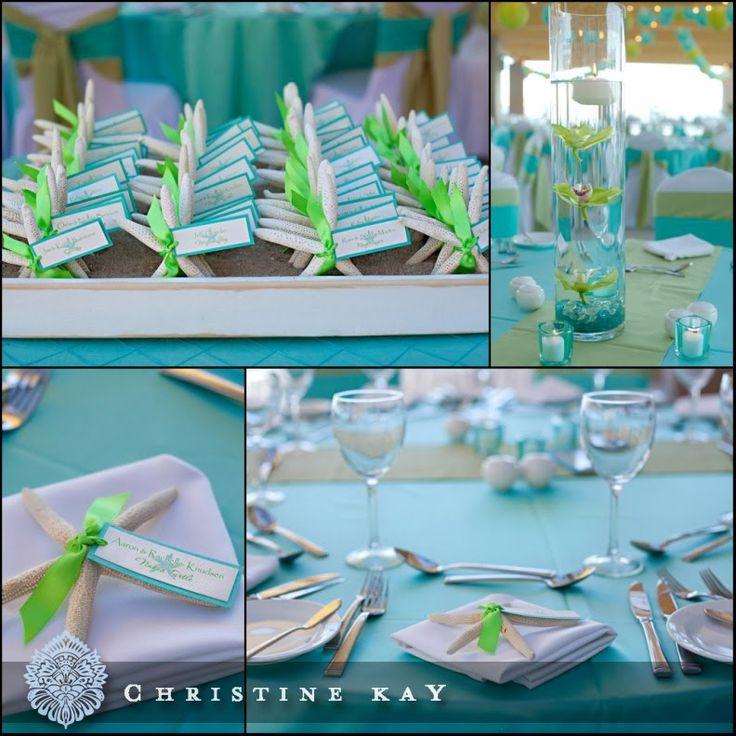 Green blue turquoise aqua sea glass star fish wedding