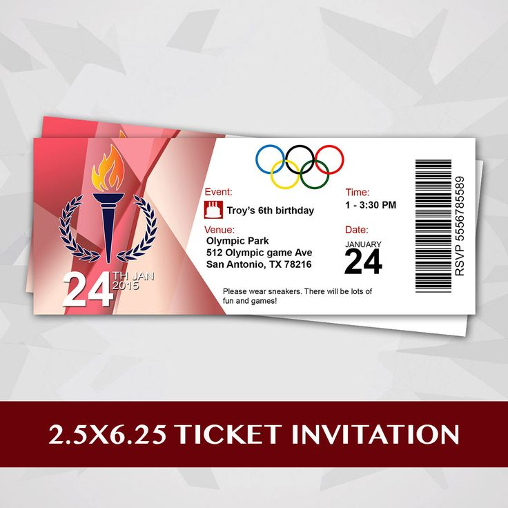 Olympic Party Ticket Invitation by RedVelvetParties on Etsy https://www.etsy.com/listing/216163373/olympic-party-ticket-invitation