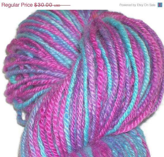 Christmas in July Handspun Hand Dyed  3-Ply Merino Wool Art-Yarn - Blue - Pink - Lavender Merino Yarn - Worsted Weight Wool Yarn - Handspun