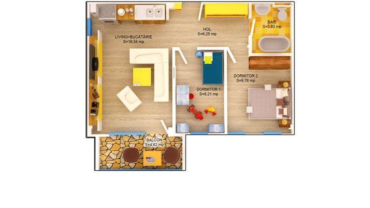 APARTAMENT ROSE - 3 CAMERE Suprafaţă construită: 61.15 mp Suprafaţă utilă: 47.41 mp Apartament disponibil doar la etajele 1 – 3 PRET: 45.000e + TVA 5%