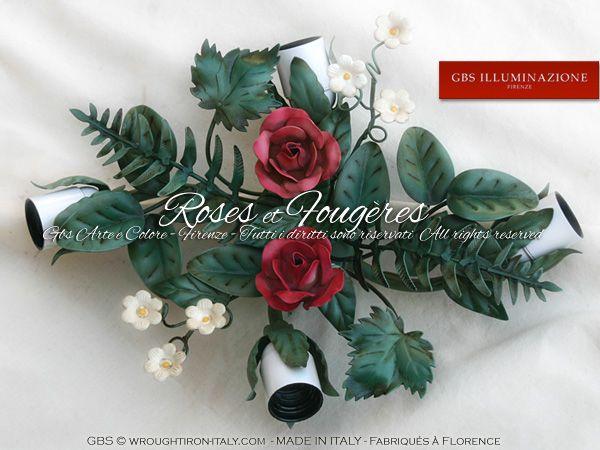 Plafonnier avec Roses et Fougères.  Lampe de plafond en fer forgé décoré à la main