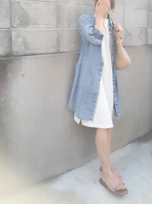 青×白×ピンク ノースリーブロングTにシャツワンピ 足元ピンクってやってみたかった…💗✨