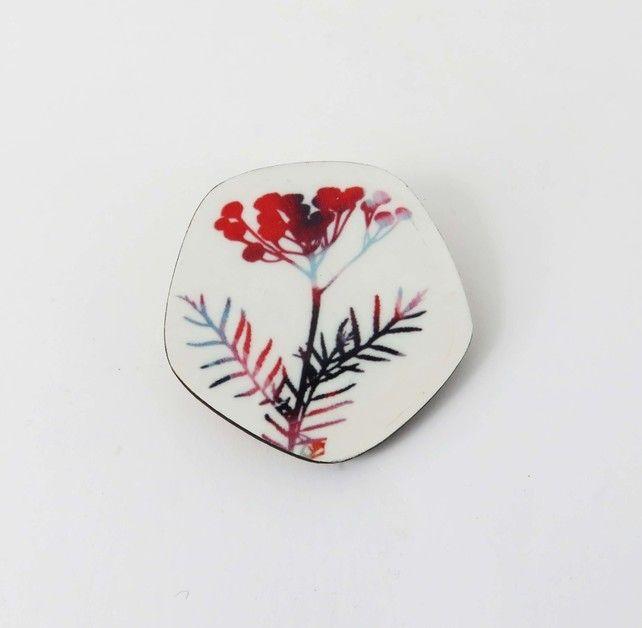 Wooden, delicate flower, seedhead, pentagon brooch £12.00