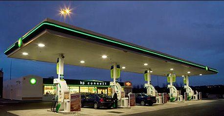 Bp petrol forecourt at night