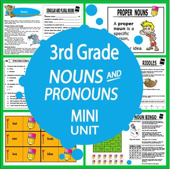 Teach students to identify, spell, and use Common and Proper Nouns; Abstract Nouns; Singular Nouns; Regular and Irregular Plural Nouns; Possessive Nouns; and Personal, Possessive, and Indefinite Pronouns with FOUR COMPLETE LESSONS and engaging hands-on Common Core-aligned activities.