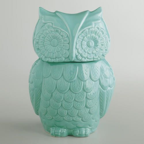 Aqua Owl Cookie Jar at Cost Plus World Market >> #WorldMarket Owl #Decor #Kitchen