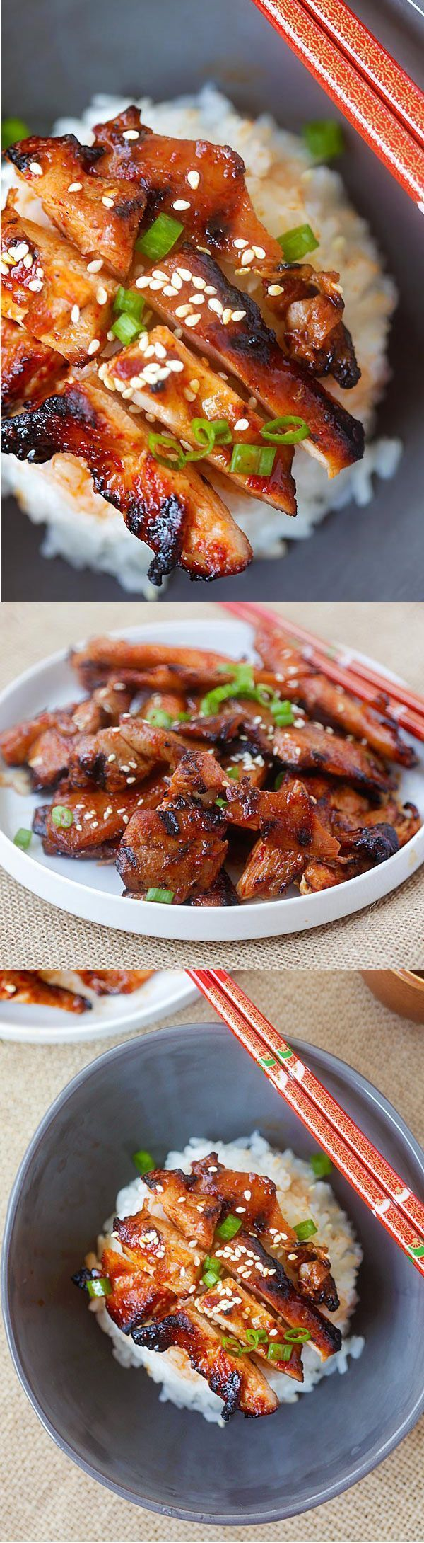 Spicy Korean Chicken – amazing and super yummy chicken with spicy Korean marinade. So easy to make, cheaper, and better than takeout | rasamalaysia.com