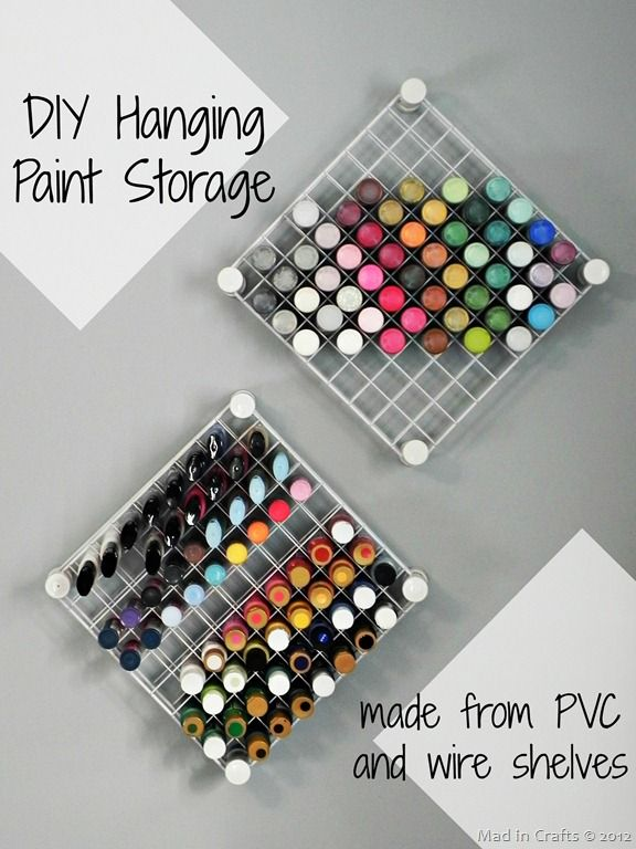 DIY Hanging Paint Storage from wire shelves. What a clever idea!!! It