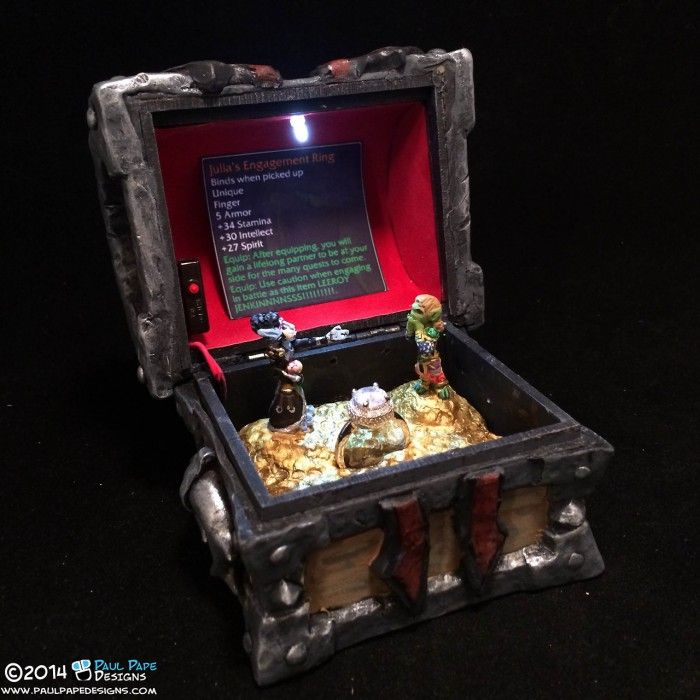 World of Warcraft Horde Gunship Armory Chest engagement ring box by artist Paul Pape.
