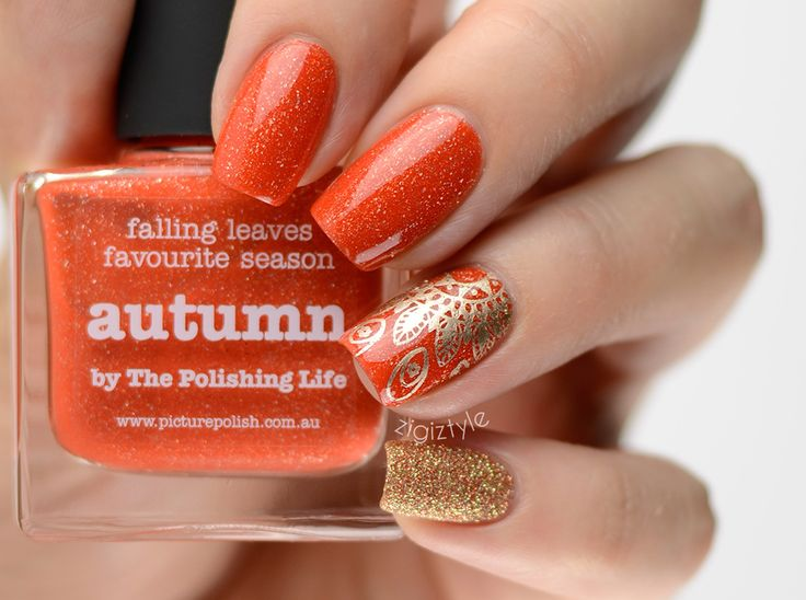 ZigiZtyle: Picture Polish Autumn, MoYou Mandala stamping, Essie Good As Gold, China Glaze I Herd That