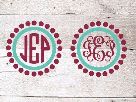 Polka Dot Frame Monogram | Vine Monogram | Yeti Decal | Yeti Monogram | Car Decal | Preppy Monogram by SMTCustomCreations on Etsy https://www.etsy.com/listing/479579435/polka-dot-frame-monogram-vine-monogram