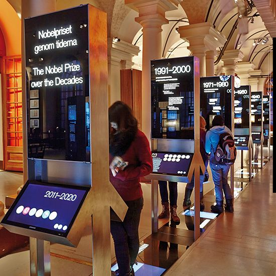 """Time-line"", graphic- and interactive exhibition design,  Nobel museum, Stockholm, 2012"