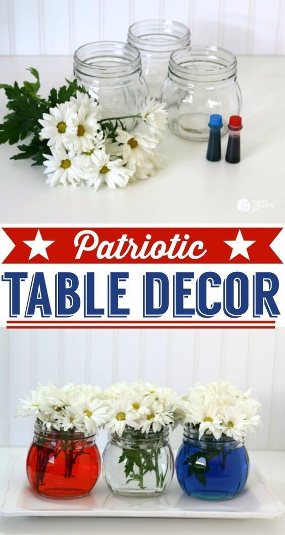 Easy Patriotic Table Decor | 4th of July table decoration | Red, White and Blue | See more creative ideas on http://TodaysCreativeLife.com