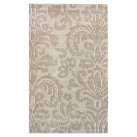 Hand-tufted rug with a damask-inspired motif.  Product: RugConstruction Material: PolyesterColor: BeigeFeatures: Hand-tuftedNote: Please be aware that actual colors may vary from those shown on your screen. Accent rugs may also not show the entire pattern that the corresponding area rugs have.Cleaning and Care: Spot clean